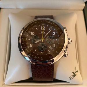 aK Brown Leather Wristwatch